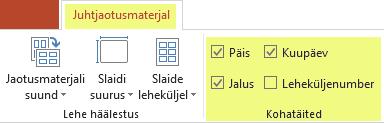 Jaotusmaterjalide mõne funktsiooni eemaldamiseks tühjendage vastav märkeruut, näiteks Päis.