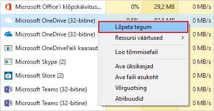 Kuidas OneDrive Tegumihalduri kohta