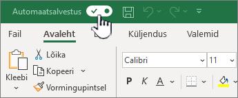 Exceli automaatsalvestus vahetamine