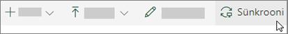 SharePoint Online ' i tööriistariba, kus on valitud suvand Sünkrooni