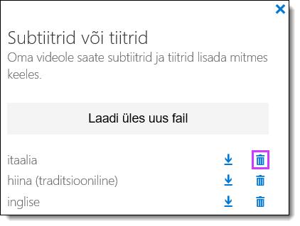 Office 365 Video kustutamine subtiitrid