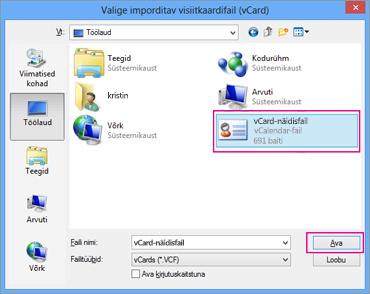 Valige vCard-fail, mille soovite CSV-vormingusse importida.