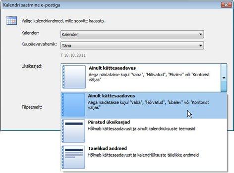 Dialoogiboksi Kalendri saatmine e-postiga üksikasjaloend