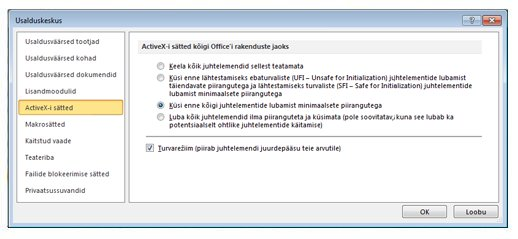Usalduskeskuse ala ActiveX-i sätted