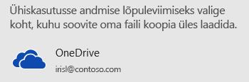 Kui te pole oma esitlust OneDrive'i või SharePointi salvestanud, soovitab PowerPoint teil seda teha.