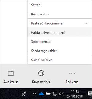 """Kuvatõmmis uuest OneDrive for Businessi sünkroonimisrakenduse menüüst, kus on valitud """"Halda salvestusruumi""""."""
