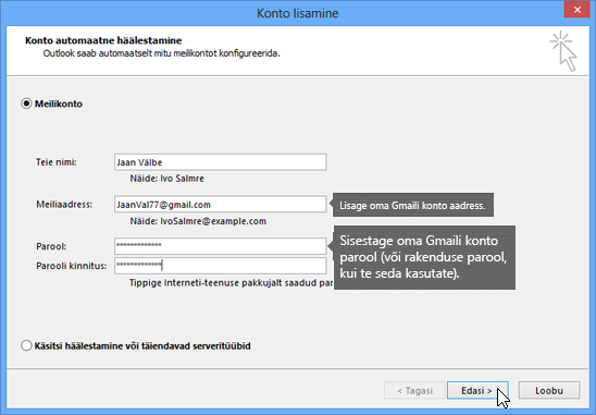 Gmaili meiliaadressi ja Gmaili konto parooli sisestamine