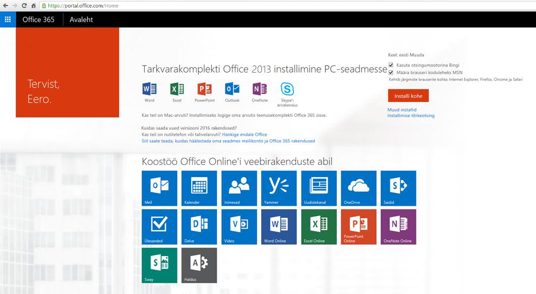 Kuvatõmmis Office 365 installimisest PC-arvutisse