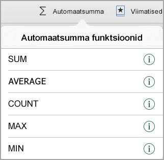Automaatsumma funktsioonide menüü
