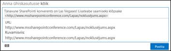 Uudistekanali postitusse kleebitud veebiaadress