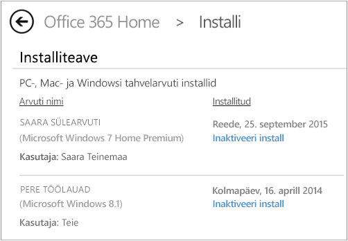 Kuvatõmmis installilehest, kus on näha arvuti nimi ja selle inimese nimi, kes Office'i installis.