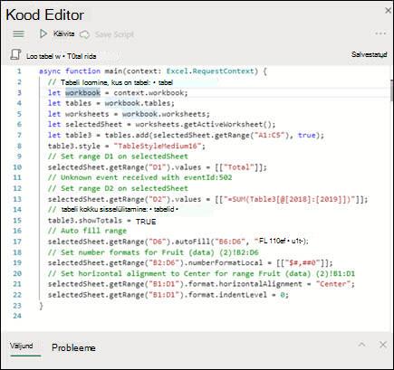 Skriptide loendist skripti valimisel kuvatakse see uues paanis, kus on ka masinakirja kood ise.