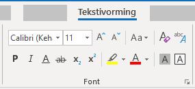 Outlook for Windows teksti fondi vormindamine jaotises