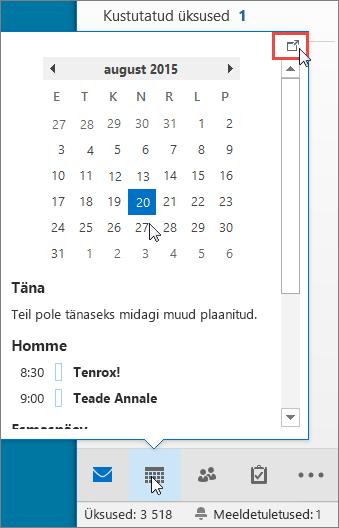 Kalendri pisieelvaade, kus on kuvatud dokkimisikoon