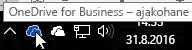 Kuvatõmmis, mis kujutab kursorit sinise OneDrive'i ikooni kohal koos tekstiga OneDrive for Business.