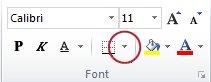 Nupp Äärised jaotises Font