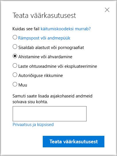 Aruande kuritarvitamise dialoog väljale OneDrive'is
