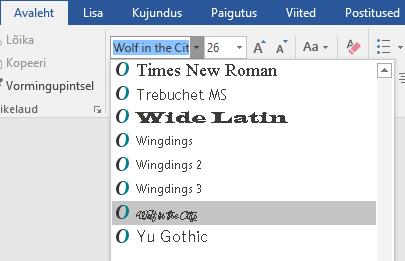 Uus font kuvatakse nüüd Wordi fondiloendis.