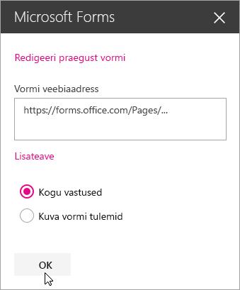 Uue vormi koostamise järel kuvatakse veebiosas Microsoft Forms vormi veebiaadress.