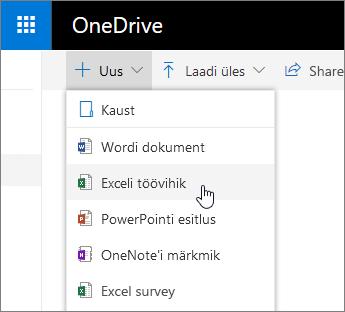OneDrive ' i uus menüü, käsk Exceli töövihik