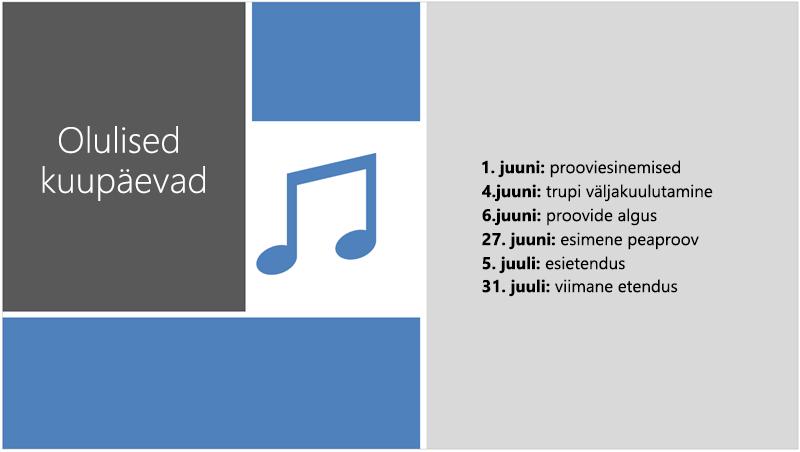 Näidisslaidil kuvatakse teksti ajaskaala, millele PowerPointi kujundusriist on lisanud illustratsiooni ja kujunduse