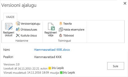 SharePointi 2016 versiooni ajalugu dialoogiboks