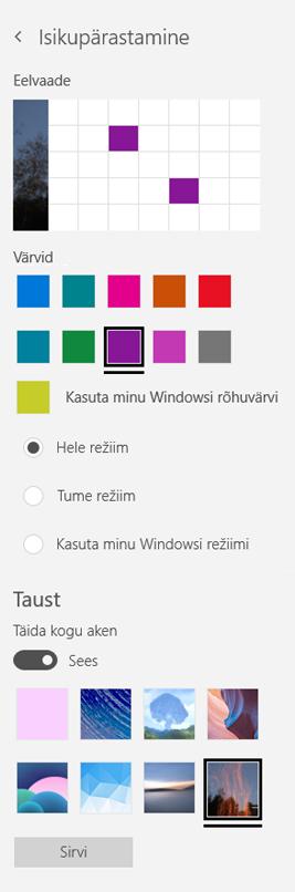 Valige taustpilt ja kohandatud värvide rakenduste