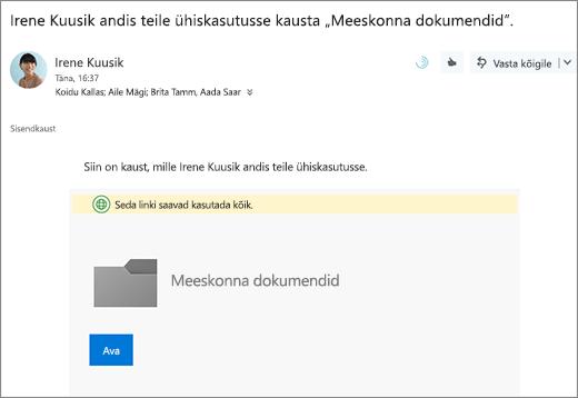 E-posti OneDrive'i kausta ühiskasutusse andmiseks lingiga