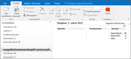 Kuvatõmmis Outlooki, näitab nime postkasti omaniku, tänase päeva ja kuupäeva, ja seotud kalendri, tööülesannete ja sõnumite päeva vaade Outlook täna.