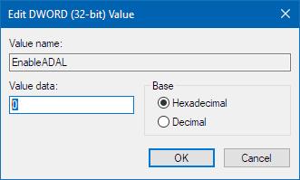 Registriredaktori väärtus 0