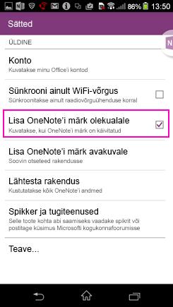 Androidi avakuvale OneNote'i märgi lisamise sätte kuvatõmmis