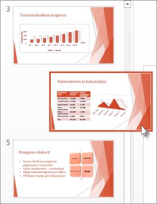 PowerPointi slaidi lohistamine uude asukohta.