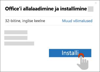 Installi nupp kuvatakse Office'i allalaadimise dialoogiboksis