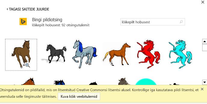"""Otsing """"lõikepildid hobustest"""" annab palju erinevaid pilte jaotises Creative Commonsi litsents."""