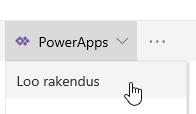 Klõpsake PowerApps ja siis rakenduse loomine.