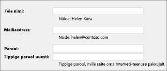 Sisestage meiliaadress ja parool
