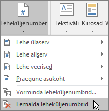 """Valige """"Lisa"""" > """"Päis ja jalus"""" > """"Leheküljenumber"""" > """"Eemalda leheküljenumbrid""""."""