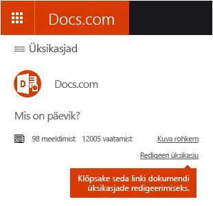 Üksikasjade redigeerimise käsk Docs.com-il