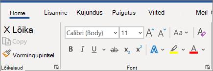 Teksti lisamine ja vormindamine Wordis