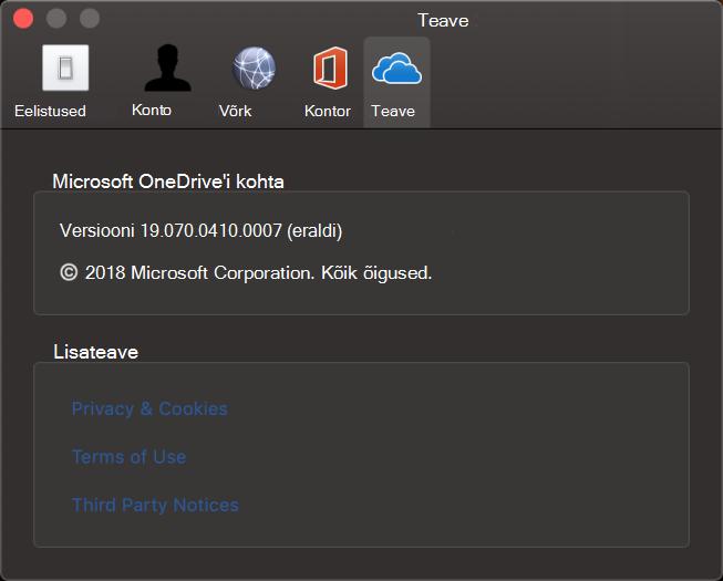 OneDrive Maci jaoks kasutajaliides