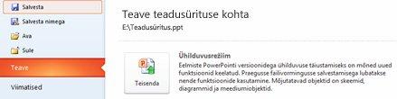 Esitluse teisendamine rakendusse PowerPoint 2010
