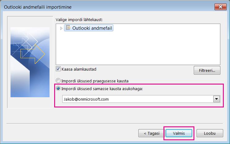 Outlooki PST-faili importimiseks Office 365 postkasti valige nupp Lõpeta.
