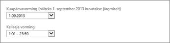 Outlook Web Appi kuupäeva- ja kellaajavormingu sätted