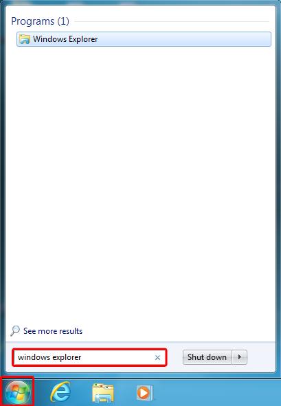 Tippige otsinguväljale windows explorer ja seejärel vajutage sisestusklahvi ENTER