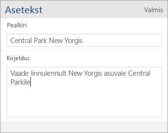 Kuvatõmmis Word Mobile'i asetekstidialoogist, mis sisaldab pealkirja ja kirjelduse välju.