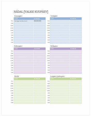 Nädala kohtumiste kalender (Word)