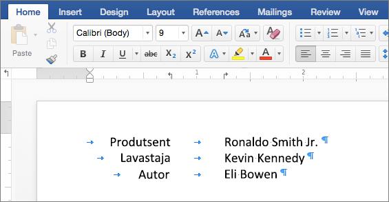 Näites kuvatakse joonlaua tabelduskohtade koos koondatud tekst.