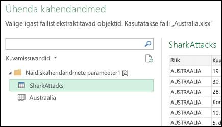 """Dialoogiboks """"Kaheandmete ühendamine"""", kus on kuvatud saadaolevad Exceli töölehed konsolideerimise esmase sihtkoha valimiseks"""
