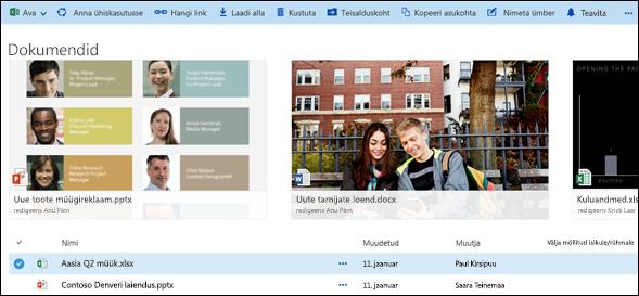 Office 365: dokumendi- ja kaustamenüü