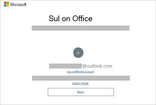 Kuvab ekraani, mis kuvatakse uue seadme ostmisel, mis sisaldab litsentsi Office. See kuva näitab, Office on teie olemasoleva Microsofti konto leidnud.